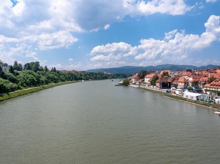 drava: Maribor. The view from the bridge over the river Drava