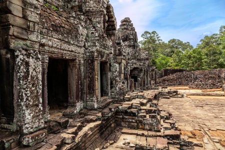 prasat bayon: The ruins of Angkor Thom Temple in Cambodia