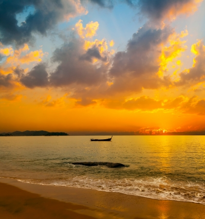 Beautiful tropical sunset over the sea photo
