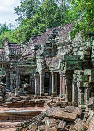 murals: The architecture of the ancient temple of Ta Prohm in Cambodia