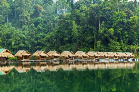 Bamboo huts on the lake Cheo Lan in Thailand