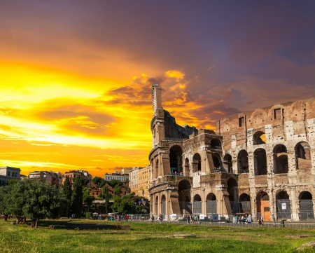 The Roman Coliseum at sunset  Stock Photo