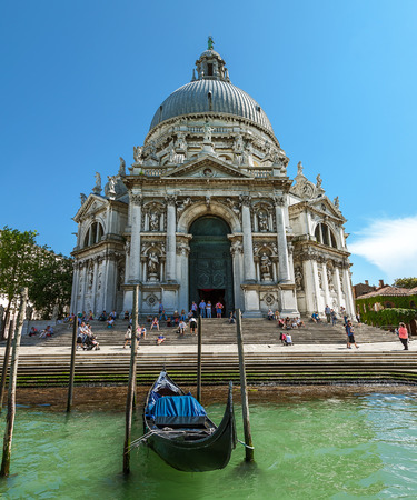 pilasters: Cathedral of Santa Maria della Salute  Tourists visiting the sights  Venice  June 2013 Editorial