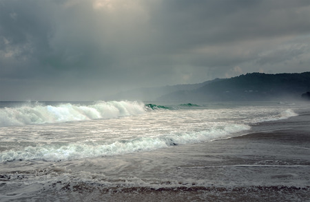 hurricane sandy: Tropical storm on the island of Phuket in Thailand Stock Photo