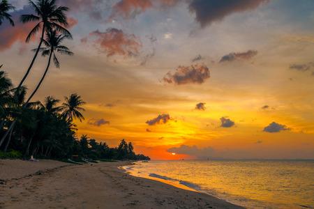koh samui: Sunset on the beach of Bang Por on Koh Samui in Thailand Stock Photo
