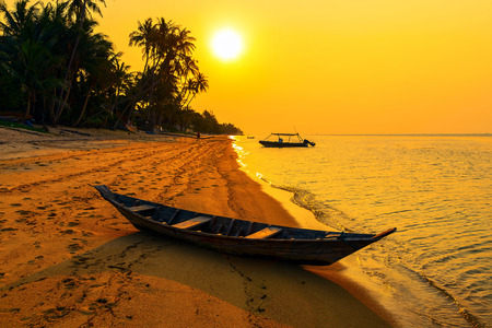 'koh samui': Sunset on the beach of Bang Por on Koh Samui in Thailand Stock Photo