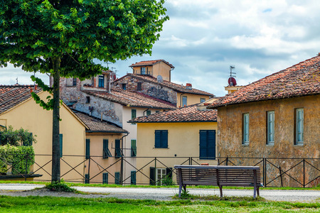 italy street: Medieval Italian town of Lucca