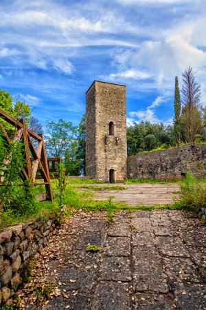 embrasure: The old fortress tower in Montecatini Alto. Stock Photo