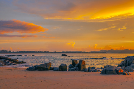 Sunset on Khao Lak beach. Thailand.