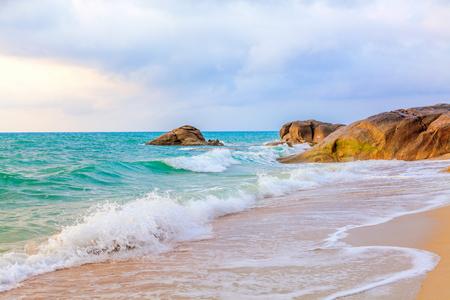 cerulean: Morning on Lamai beach. Koh Samui. Thailand. Stock Photo