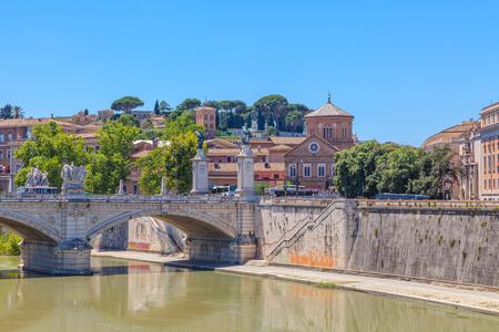 noon: Rome. City landscape. In the foreground the bridge Vittorio Emanuele. Stock Photo