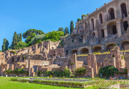 Ancient Roman ruins on the Palatine hill.