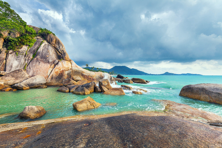 Hin Ta and Hin Yai Rocks. A famous place on the island of Koh Samui in Thailand.