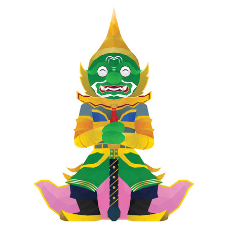 Thai Giant isolated on white background Low polygon  イラスト・ベクター素材