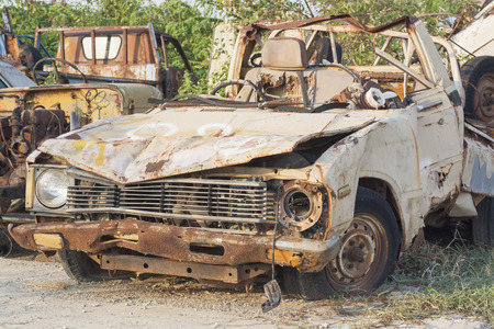 antique fire truck: old dilapidated car