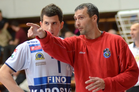 KAPOSVAR, HUNGARY - DECEMBER 8: Sandor Kantor (R) Kaposvar trainer in action at the Challenge Cup volleyball game Kaposvar (HUN) vs Prefaxis Menen (BEF). Stock Photo - 8449264