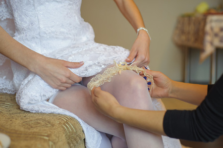 garter belt: beautiful bride garter on her leg