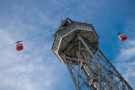 montjuic: The tower with two cable cars for Transbordador Aeri del Port in Barcelona, Spain Editorial