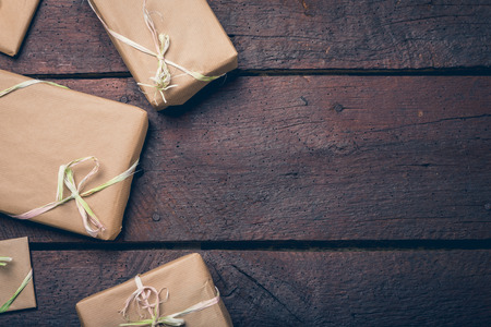 christamas: Gifts wrapped with the gray paper. Copy space, Christamas concept.