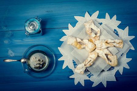 traditonal: Traditonal angel wings cookies, faworki on the plate
