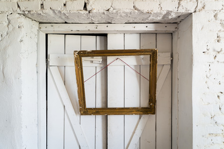 Old Wooden Painting Frame Hanging On The Wooden Doors Stock Photo ...