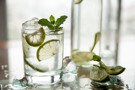A glass of fresh cold water with lime and leaves of refreshing mint.