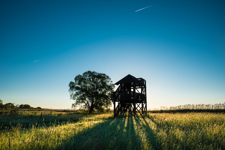Observation tower while sunrise for ornitology and photographers