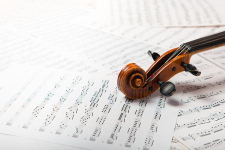Viola en las hojas de música Foto de archivo