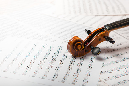 Viola on the sheets of music