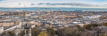 Panorama view at edinburgh city from carlton hill. Stock Photo