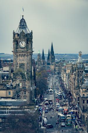 Edinburgh clock tower and street traffic, view from Carlton Hill