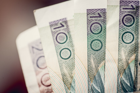 Five hundred of polish zloty. Very close view. 500 PLN 写真素材