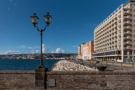 Partenope Street in the Naples Bay. Seafront view from the egg castle, Castel dell'ovo, Naples, Italy Reklamní fotografie