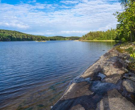 ladoga: Coastline of the Gulf Lake Ladoga.  Karelia, Russia. Stock Photo