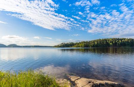 ladoga: View of Lake Ladoga. Sunny day. Karelia, Russia.
