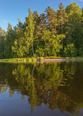 ladoga: A beautiful reflection in the Lake Ladog. Karelia, Russia. Stock Photo