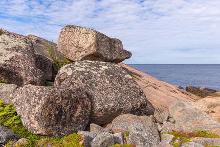 Great stones on the island- German Kuzov.  Russia, Karelia. photo