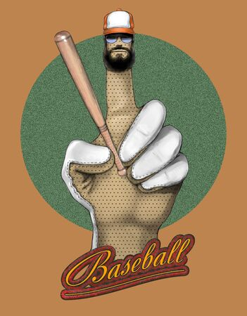 Gloved hand holding a baseball bat. The inscription Baseball 스톡 콘텐츠