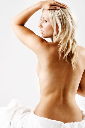 Blond girl with bare back after shower Stock Photo - 2309204