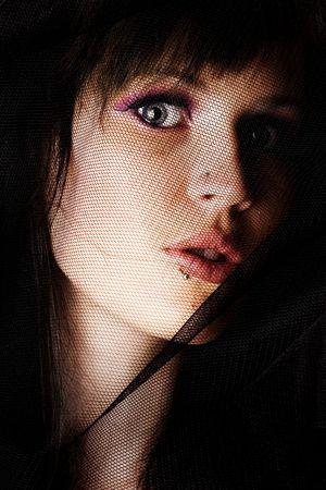 Cara de mujeres convertidas de paño negro  Foto de archivo - 2309318