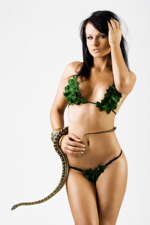 Sexy woman in green bikini with a snake Stock Photo - 3644545