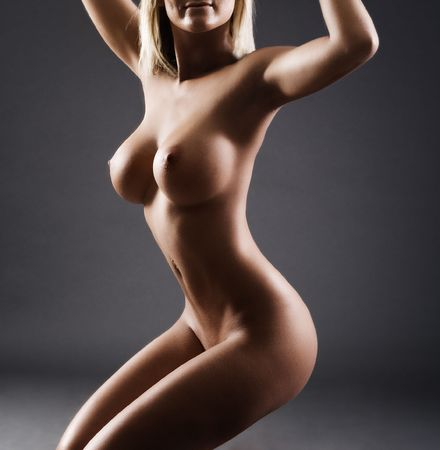 Detail of body of a sexy female with large breasts Stock Photo