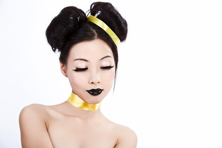 pale colour: Young asian female with creative colorful makeup Stock Photo