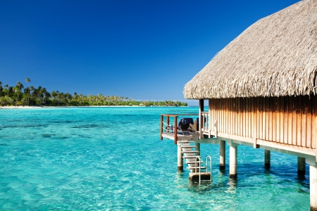 bora bora: Over water bungalow with steps into amazing lagoon