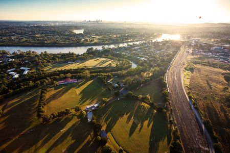 Sunshine over early morning in Brisbane seen from balloon