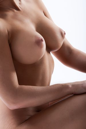 naked breast: Detail of a sexy young female with large breasts