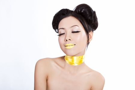 Young asian female with creative colorful makeup photo
