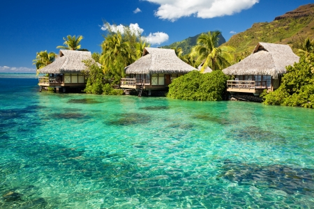 moorea: Over water bungalows with steps into amazing green lagoon