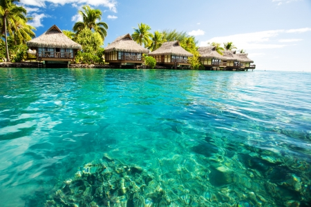 tahiti: Over water bungalows with steps into amazing green lagoon