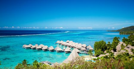 moorea: High angle shot of over water bungalows at Moorea island